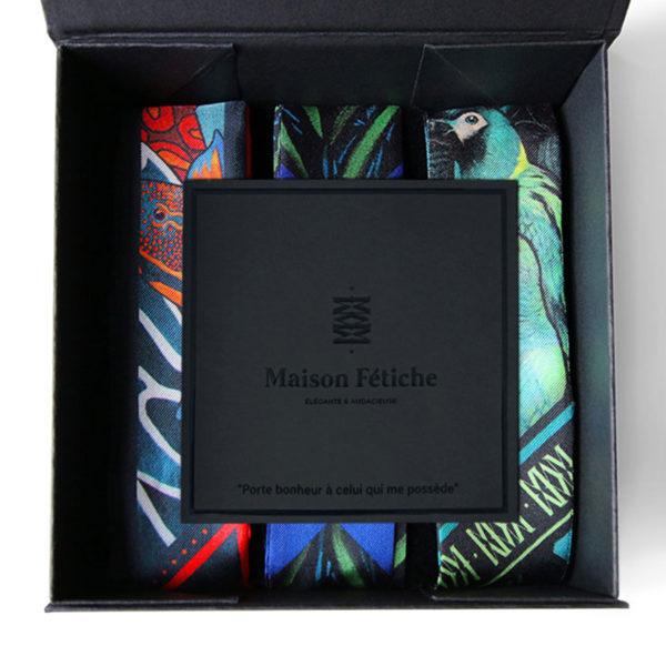 packaging2 coffret 3 fetiche a nouer soie made in France maison fétiche corail fond marin gorgone palmier vert perroquet