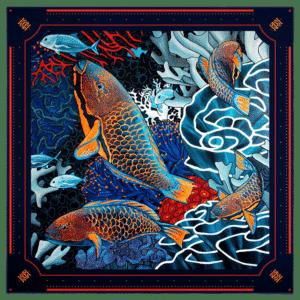 foulard soie création carré de soie femme imprimé