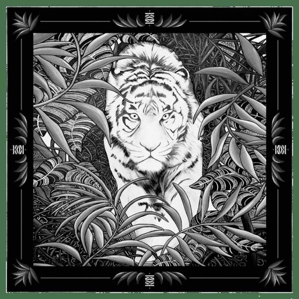 foulard soie création carré de soie femme imprimé noir et blanc