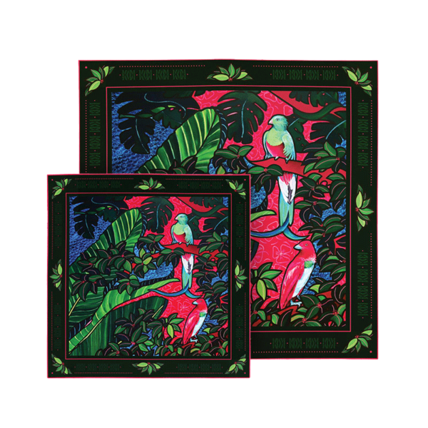 Coffret 2 foulards soie imprimés rose et noir