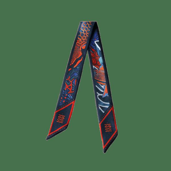 Bandeau soie imprimé 2 faces fond sous marin poisson perroquet corail gorgone Twilly ruban poignet ou cheveux