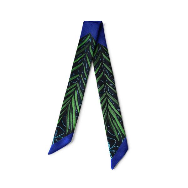 Bandeau soie imprimé 2 faces bleu palmier Twilly ruban poignet ou cheveux