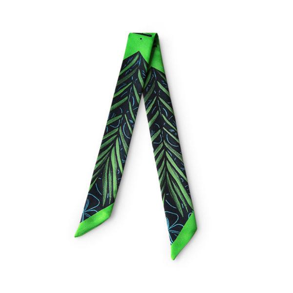 Bandeau soie imprimé 2 faces vert Twilly ruban poignet ou cheveux