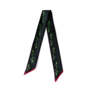 Bandeau soie imprimé 2 faces noir vert fleur rose Twilly ruban poignet ou cheveux