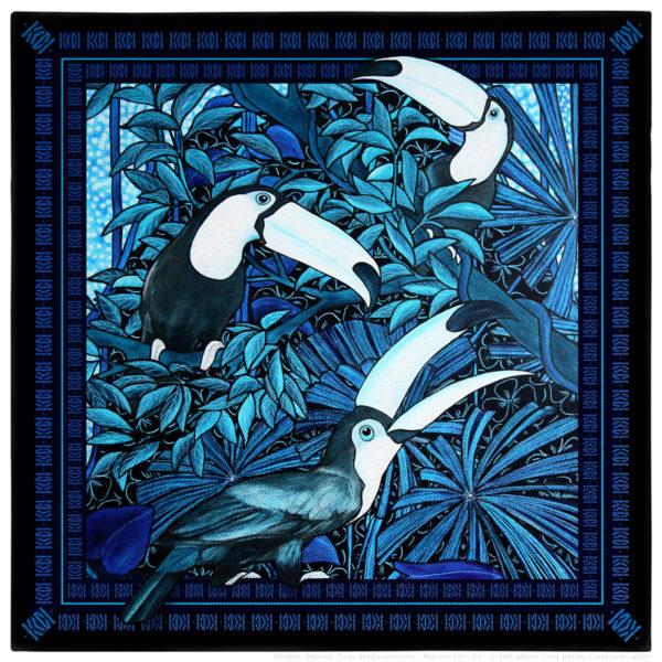 Pochette costume homme soie bleu toucan 30 x 30