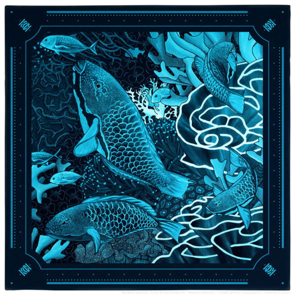 Pochette costume homme soie bleu fond sous marin poisson perroquet 30 x 30