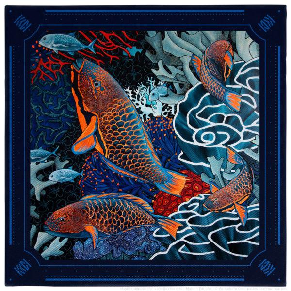 Pochette mouchoir costume homme soie bleu fond sous marin poisson perroquet corail gorgone 30 x 30
