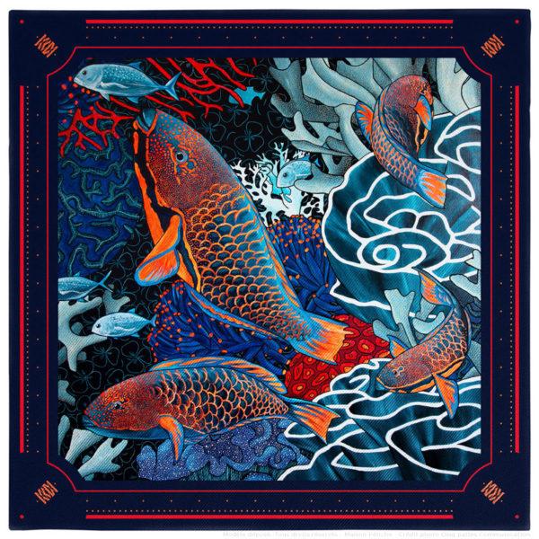 Pochette costume homme soie bleu fond sous marin poisson perroquet corail gorgone 30 x 30