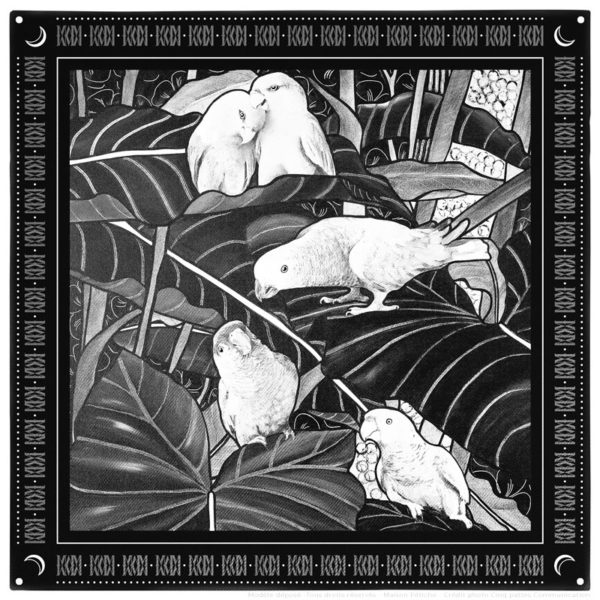 Pochette mouchoir foulard costume homme soie noir et blanc perroquet 30 x 30