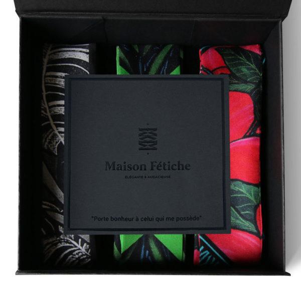 packshot4 coffret 3 fetiche a nouer soie made in France maison fétiche tigre noir et blanc palmier vert hibiscus tahiti