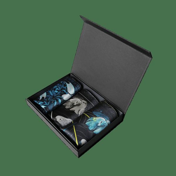 Coffret pochettes de costume homme perroquet noir et blanc turquoise toucans bleu
