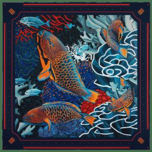 packshot1 carré foulard soie roulotté made in France maison fétiche La danse n5 original 130x130