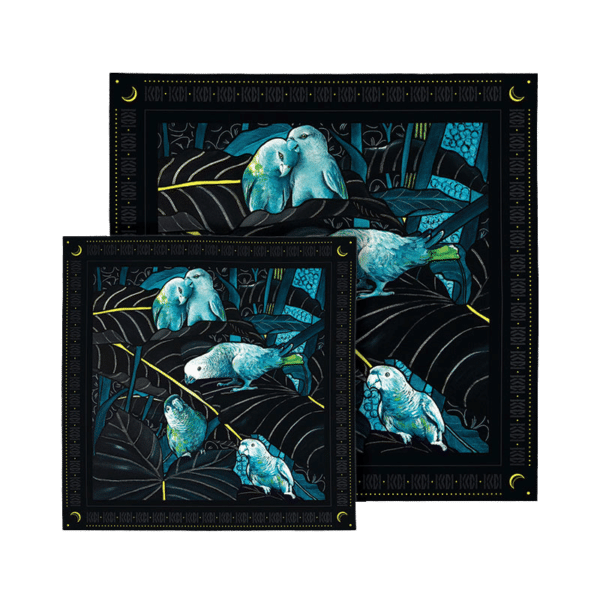 Coffret 2 foulards soie imprimés bleu turquoise et noir perroquets amoureux