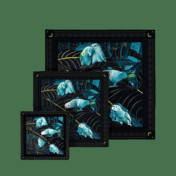 Coffret familiale 3 foulards soie imprimés noir et bleu thème perroquet