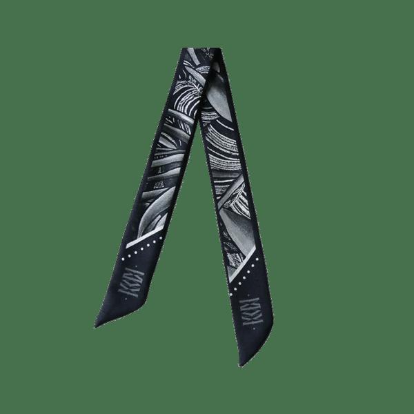 Bandeau soie imprimé 2 faces noir et blanc animal tigre foret Twilly ruban poignet ou cheveux