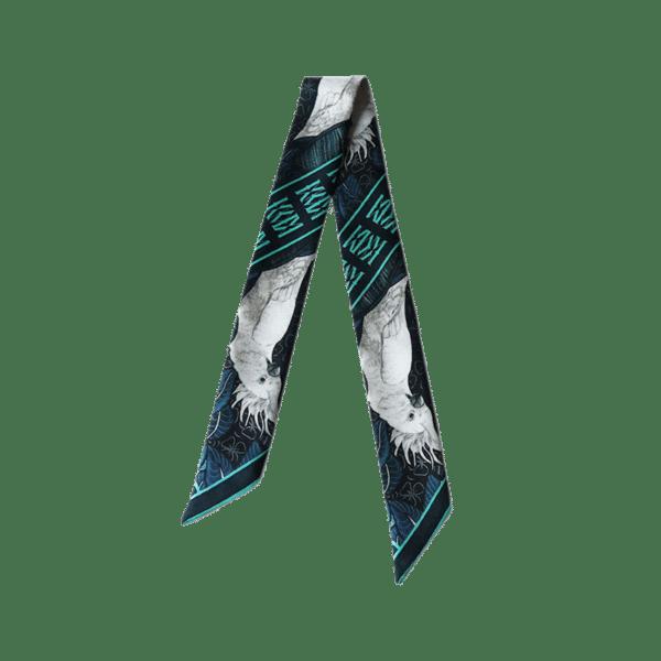 Bandeau soie imprimé 2 faces cacatoès blanc sur fond bleu Twilly ruban poignet ou cheveux