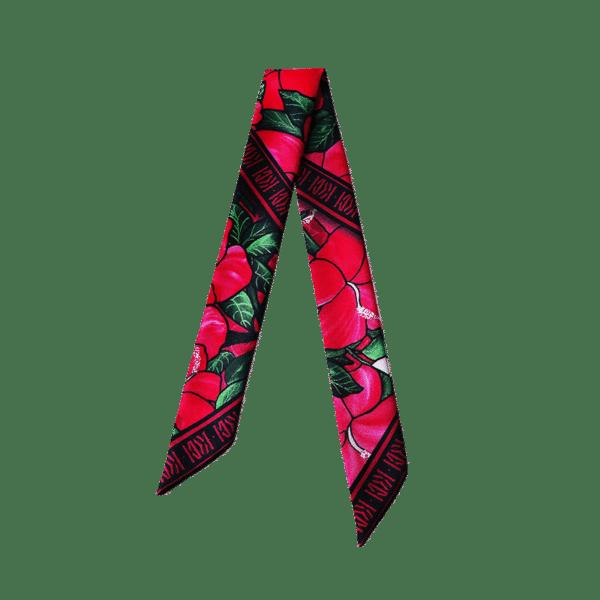 Bandeau soie imprimé 2 faces rose fleur hibiscus Tahiti Twilly ruban poignet ou cheveux
