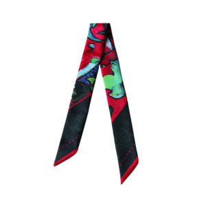 Bandeau soie imprimé 2 faces noir et bleu Twilly ruban poignet ou cheveux