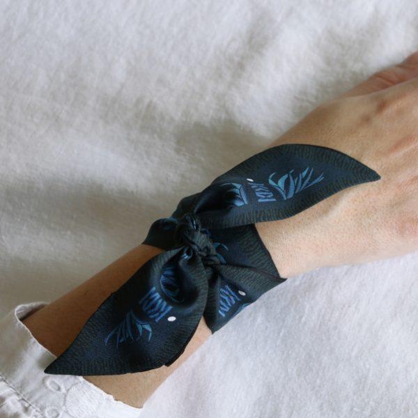 ruban de soie imprimé Maison Fétiche Bohême bleu noir