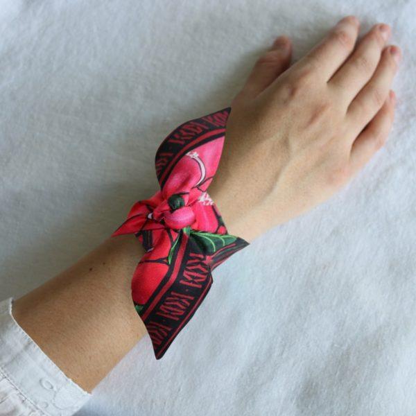 ruban de soie imprimé Maison Fétiche hibiscus rouge fleure tropicale exotisme