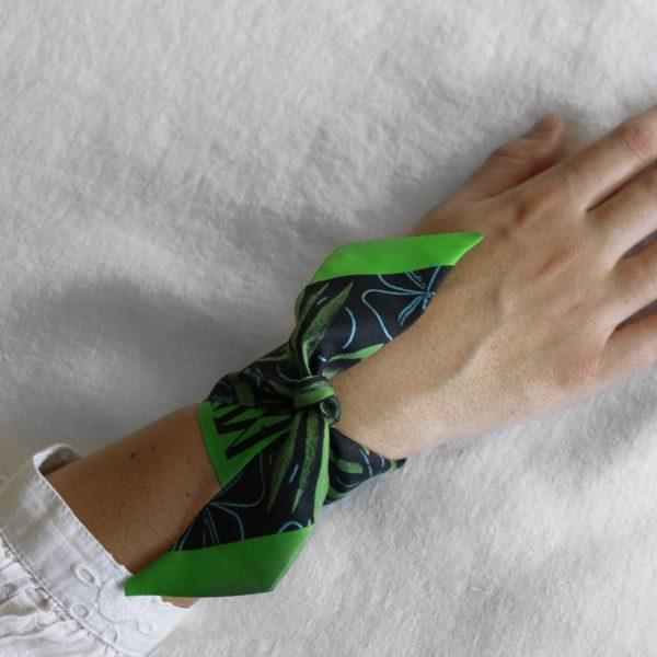 ruban de soie imprimé Maison Fétiche palmier vert