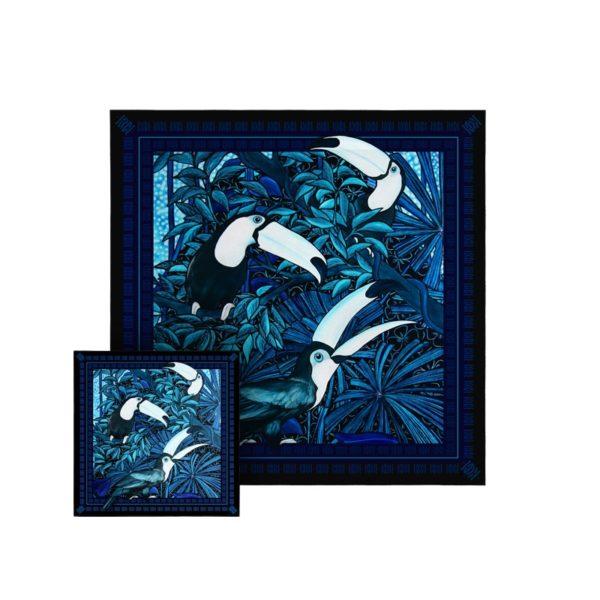 packshot2 coffret duo foulard pochette espiegle toucan oiseaux foret jungle nuit 1