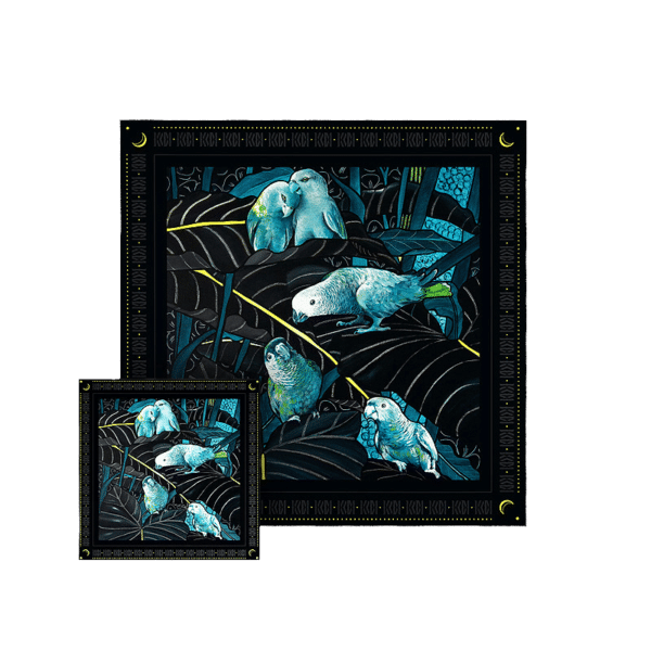 packshot2 coffret duo foulard pochette theatre de nuit amazone perroquet jungle nuit