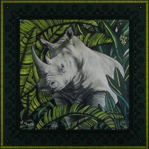 packshot1 pochette homme soie made in France maison fetiche L elegant rhinoceros vert jaune 30x30