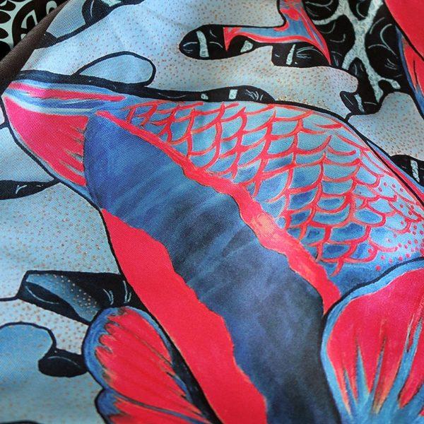 zoom1 carré foulard soie roulotté made in France maison fétiche La danse n2 pink 90x90 1