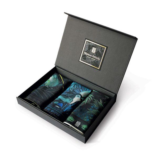 packaging1 coffret trois pochettes homme soie sous les tropiques made in France maison fétiche