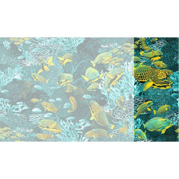 Raccord papier peint panoramique bleu & jaune sous marin Lé N°1