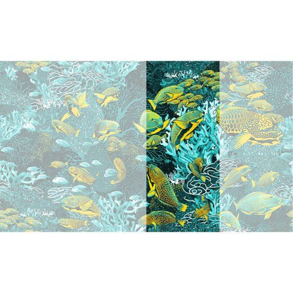 Raccord papier peint panoramique bleu & jaune sous marin Lé N°2