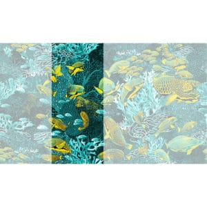 Raccord papier peint panoramique bleu & jaune sous marin Lé N°3
