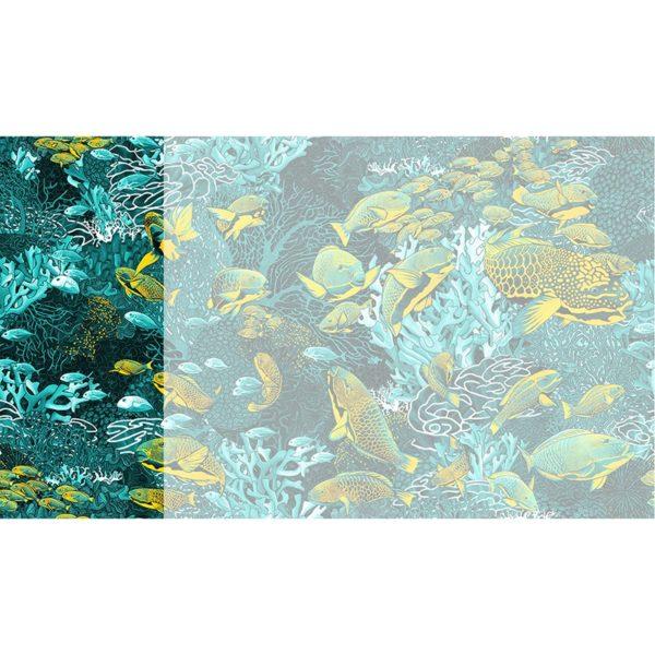 Raccord papier peint panoramique bleu & jaune sous marin Lé N°4
