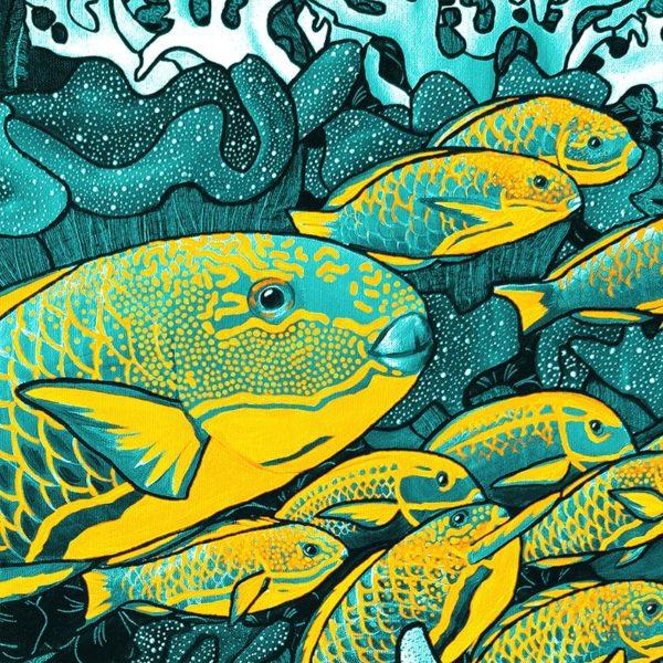 papier peint panoramique la danse bleu jaune tapissere sous marin poisson zoom1 maison fetiche