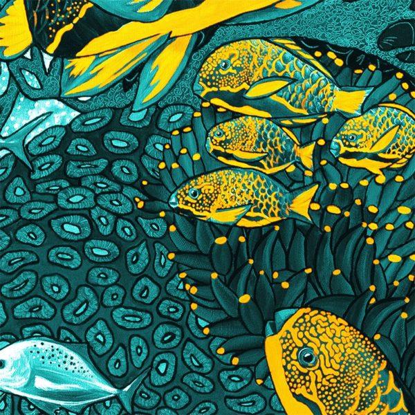 papier peint panoramique la danse bleu jaune tapissere sous marin poisson zoom2 maison fetiche