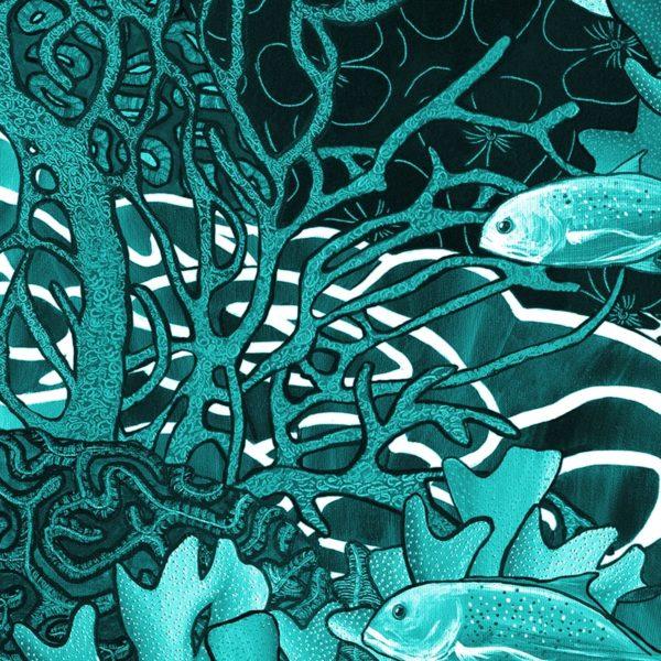 papier peint panoramique la danse bleu jaune tapissere sous marin poisson zoom3 maison fetiche