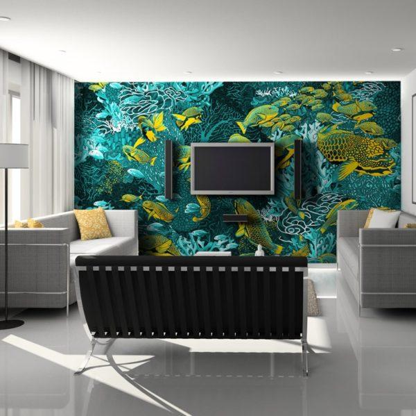 papier peint panoramique la danse jaune et bleu tapisserie sous marin poisson ambiance1 maison fetiche