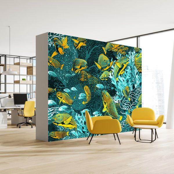 papier peint panoramique bleu et jaune sous marin