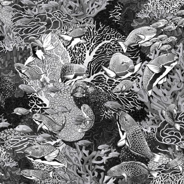papier peint panoramique noir et blanc sous marin