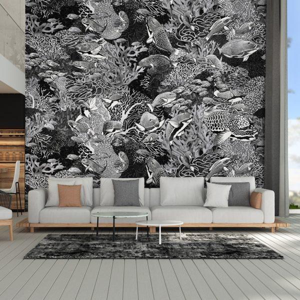 papier peint panoramique la danse noir et blanc tapissere sous marin poisson ambiance3 maison fetiche