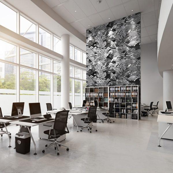 papier peint panoramique la danse noir et blanc tapissere sous marin poisson ambiance4 maison fetiche