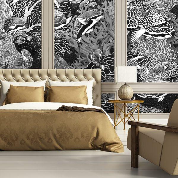 papier peint panoramique la danse noir et blanc tapissere sous marin poisson ambiance6 maison fetiche