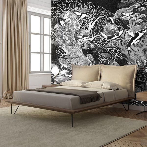 papier peint panoramique la danse noir et blanc tapissere sous marin poisson ambiance7 maison fetiche