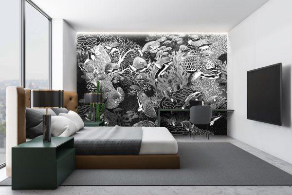 papier peint panoramique la danse noir et blanc tapissere sous marin poisson ambiance8 maison fetiche
