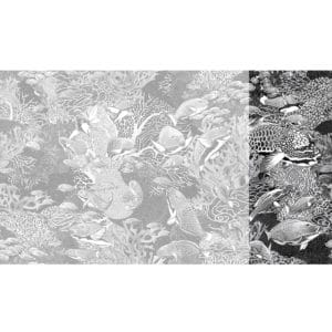 Raccord papier peint panoramique noir et blanc sous marin Lé N°1