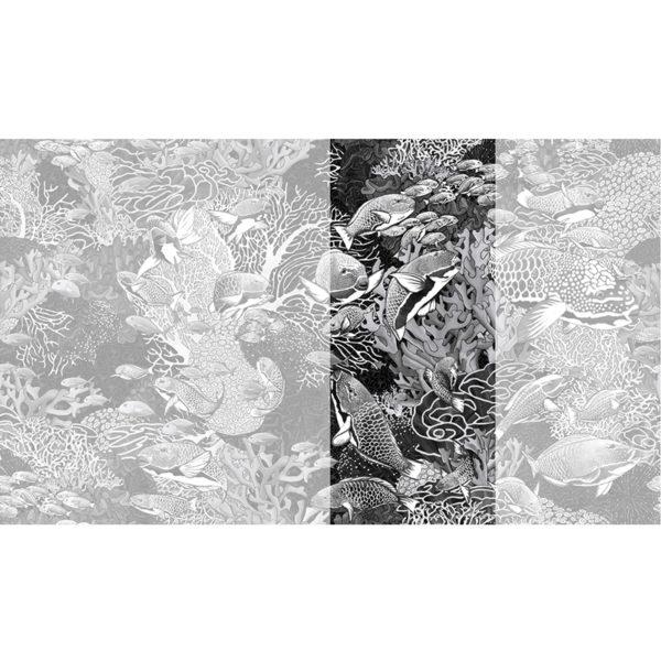 Raccord papier peint panoramique noir et blanc sous marin Lé N°2