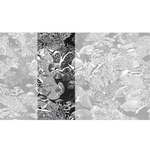 Raccord papier peint panoramique noir et blanc sous marin Lé N°3