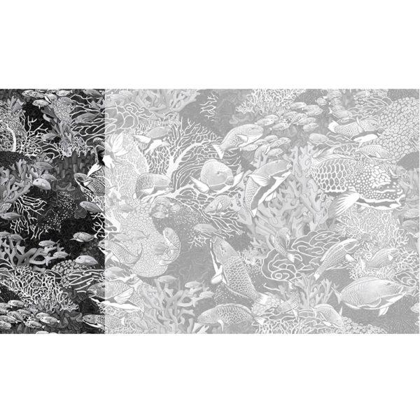 Raccord papier peint panoramique noir et blanc sous marin Lé N°4