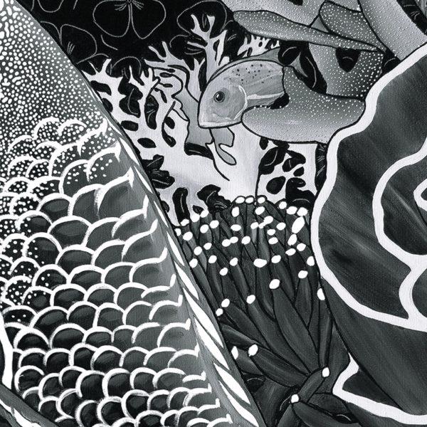 papier peint panoramique la danse noir et blanc tapissere sous marin poisson zoom1 maison fetiche